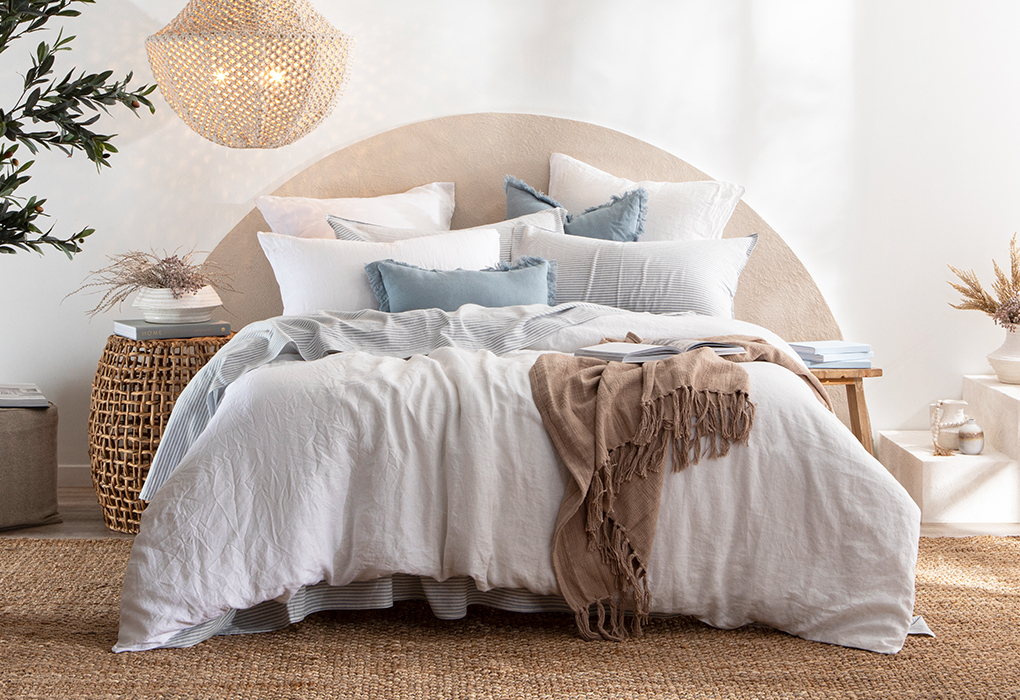 White washed linen bed quilt cover set | Pillow Talk