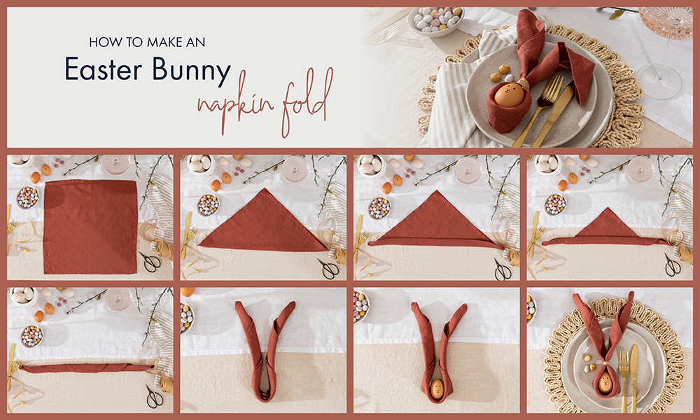 How to fold an easy Easter bunny napkin | Pillow Talk